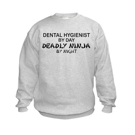 Dental Hygienist Deadly Ninja Kids Sweatshirt