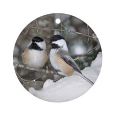 2 Chickadees Ornament (Round)