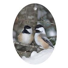 2 Chickadees Oval Ornament