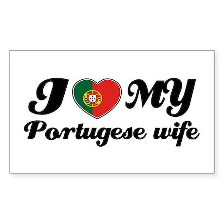I love my portuguese wife Rectangle Sticker