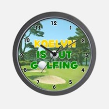 Kaelyn is Out Golfing (Gold) Golf Wall Clock