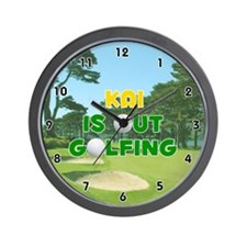 Kai is Out Golfing (Gold) Golf Wall Clock