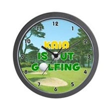 Kaia is Out Golfing (Gold) Golf Wall Clock