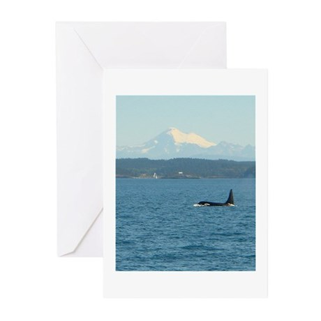 Orca Bull with Mount Baker Greeting Cards (Pk of 2