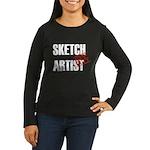Off Duty Sketch Artist Women's Long Sleeve Dark T-