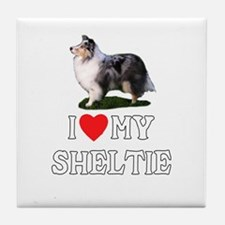 I Love My Sheltie Tile Coaster
