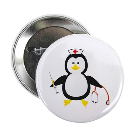 "Penguin Nurse 2.25"" Button (100 pack)"