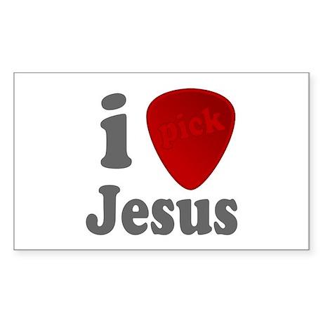 I Heart Jesus Guitar Pick Rectangle Sticker