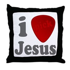 I Heart Jesus Guitar Pick Throw Pillow