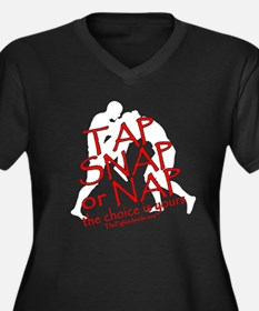 Tap Snap or Nap Women's Plus Size V-Neck Dark T-Sh