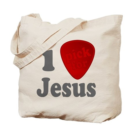 I Pick For Jesus Guitar Pick Tote Bag