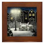 WHITE SCHNAUZER DOGS SNOW CITY Framed Tile