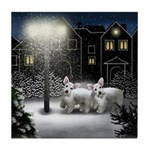 Japanese Chin Dog Snow City Tile Coaster