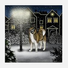AKITA DOG SNOW CITY Tile Coaster