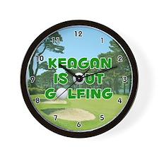 Keagan is Out Golfing (Green) Golf Wall Clock