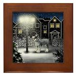 STANDARD SCHNAUZER DOG SNOW CITY Framed Tile