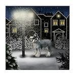 STANDARD SCHNAUZER DOG SNOW CITY Tile Coaster