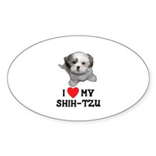 I Love My Shih-Tzu Oval Decal