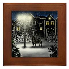 BLACK PUG DOG SNOW CITY Framed Tile