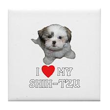 I Love My Shih-Tzu Tile Coaster