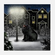 Newfoundland Dog Snow City Tile Coaster
