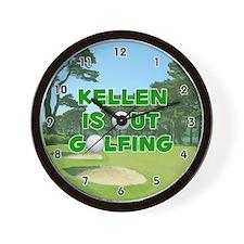Kellen is Out Golfing (Green) Golf Wall Clock