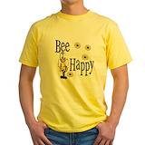 Bee happy Mens Yellow T-shirts