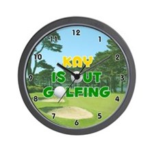 Kay is Out Golfing (Gold) Golf Wall Clock