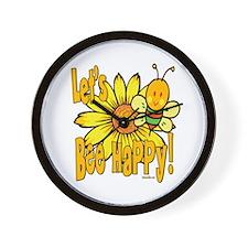 Let's Bee Happy! Wall Clock