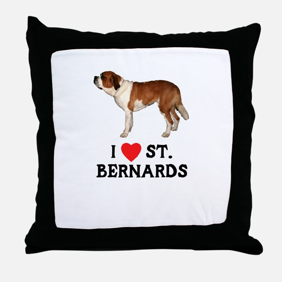 I Love St. Bernards Throw Pillow