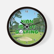 Kian is Out Golfing (Green) Golf Wall Clock