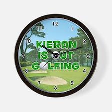Kieran is Out Golfing (Green) Golf Wall Clock
