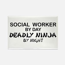 Social Worker Deadly Ninja Rectangle Magnet