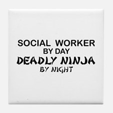Social Worker Deadly Ninja Tile Coaster