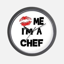 'Kiss Me I'm A Chef Wall Clock