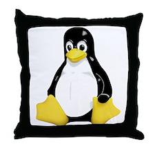Linux Tux Mascot Throw Pillow