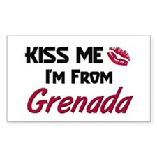 Kiss Me I'm from Grenada Rectangle Decal
