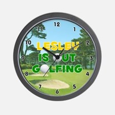 Lesley is Out Golfing (Gold) Golf Wall Clock