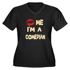 Kiss Me I'm A Comedian Women's Plus Size V-Neck Da