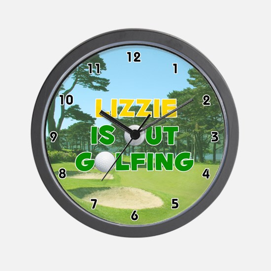 Lizzie is Out Golfing (Gold) Golf Wall Clock