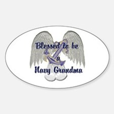 Blessed Navy Grandma Oval Decal