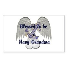 Blessed Navy Grandma Rectangle Decal