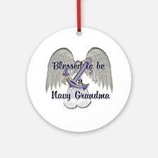 Blessed Navy Grandma Ornament (Round)