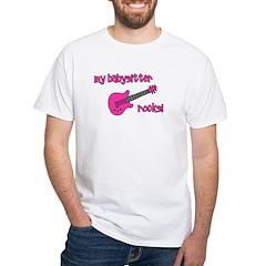 My Babysitter Rocks! pink gui White T-Shirt