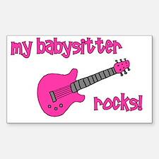My Babysitter Rocks! pink gui Sticker (Rectangular
