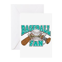 Baseball Fan(Teal) Greeting Cards (Pk of 10)