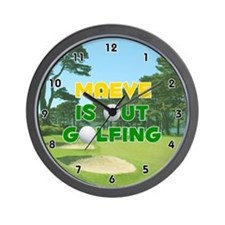 Maeve is Out Golfing (Gold) Golf Wall Clock