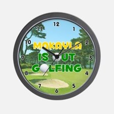 Makayla is Out Golfing (Gold) Golf Wall Clock