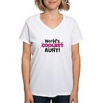 World's Coolest Aunt! Women's V-Neck T-Shirt