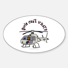 Dark Helicopter Pilot Oval Decal